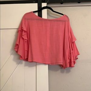 Anthropologie linen pink top in size Small.
